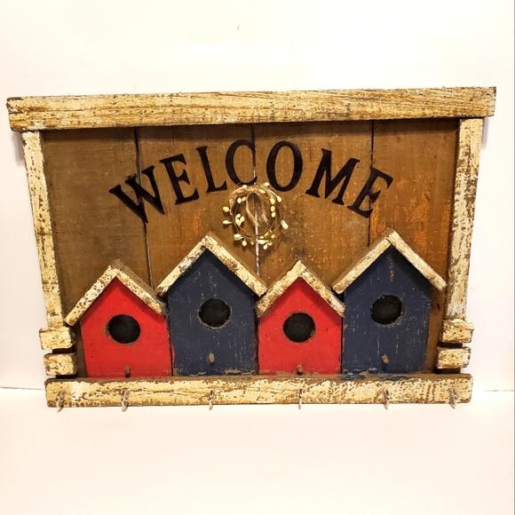 Handmade wooden bird house welcome coat key hanger Farmhouse rustic primitive